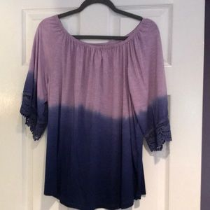 Purple and blue ombré off the shoulder top